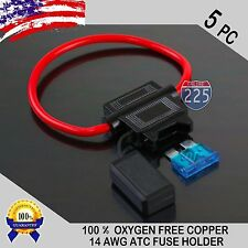 5 Pack 14 Gauge ATC In-Line Blade Fuse Holder 100% OFC Copper Wire + 1A - 40A