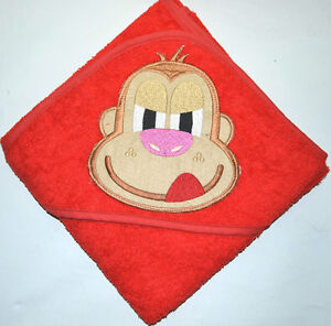 100 % PURE COTTON Baby Hooded Bath towel ** RED MONKEY **