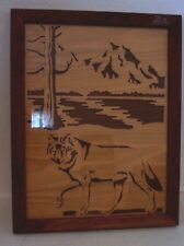 Framed Carved Wood Wolf Mountain Lake Picture Framed Signed