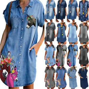 Denim Solid Plus Size Shirt Dresses for sale | eBay