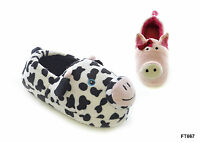 Girls / Kids / Childs Plush 3D Animal Pig / Cow Slippers - Sizes UK 9 - 2