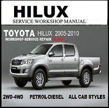 TOYOTA HILUX 2005 2010 WORKMATE SR SR5 2WD-4WD MASTER WORKSHOP MANUAL CD