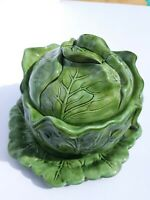Vintage Holland Mold Cabbage CeramicCovered Serving Bowl with Drip Plate.