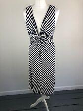 Womens Stripe Phase Eight Dress 12 Navy Blue White Party Wedding Winter Stretch