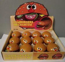 "NEW Vtg Display Wind Up Food Hamburger 2"" Plasic Action Figure toys dozen 8 work"
