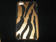 Animal Stripes Print Hard Cover Case 4 iPhone 4 4s New Gold / Black Velvet