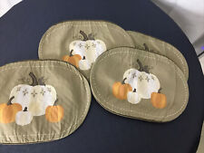 Set Of 4 Pumpkin Oval Quilted Appliqué Ran Orange  Placemats
