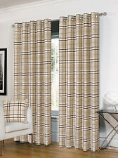 Luxurious Ring Top Eyelet Lined Plaid Check Ready Made Curtain Pair - 5 Colours Cream 90 X 72 Inches