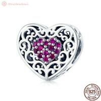 Charm Anhänger w.f. Pandora Herz Herzen Ranke Pink Rosa Farbe 925 Sterlingsilber