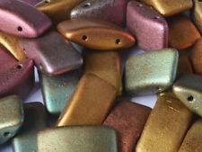 CHOOSE COLOR! 15pcs Carrier Pressed Beads with Two Holes 9x17mm, Czech Glass