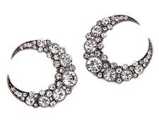 DESIGNER HORN CRESCENT HALF MOON Crystal Rhinestone Tribal Revival Stud Earrings