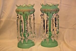Pair Antique French Green Opaline & Gilt & Cut Glass Mantle Lustres Vases