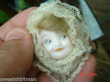 Beautiful little Baby girl porcelain doll face hair PIN PENDANT Byron Molds 1983