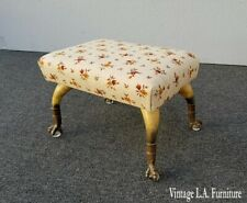 Vintage French Country Footstool w Ball & Claw & Cow Horn Feet Collectors Item