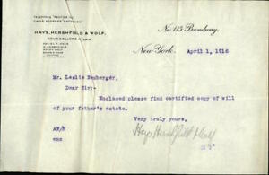 1916 New York City New York (NY) Letter Hays,Hershfield & Wolf,Counsellors at La