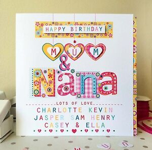 Mum & Nana personalised birthday card personalised. MUM & NAN GRANDMA GRAN NANNY