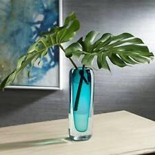 "Tia 13"" High Dark Teal Modern Glass Vase"