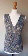 Womens Orsay Sleeveless Blue Paisley Print Crossover Top Blouse, Size Medium