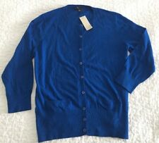 NEW $68 Ann Taylor M Royal Blue Rayon Blend Lightweight 3/4 Cardigan w/ Pockets