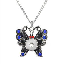 Hot Women Jewelry Necklace Pendant Fit 18mm Noosa Snap Button Butterfly N133