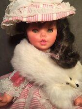 """Vintage Furga Doll Italy 14"""" Brunette Hoop Skirt Pink Faux Mink Crier"""