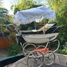 Vintage ADJUSTABLE Silver Cross DOLLS Pram Sun Tassel Canopy Blind Coach Built