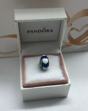 "Pandora "" Aqua Love White Hearts "" Murano Glass Charm # 790657"