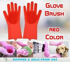 Magic Gloves Dish Washing Silicone Rubber Scrubber Cleaning Red Color 2 in 1