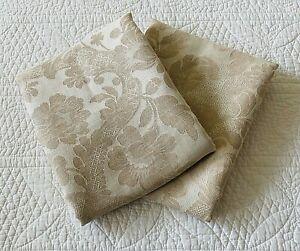 Peacock Alley Pair Ivory & Tan Floral Jacquard Cotton Blend Std Pillow Shams EUC