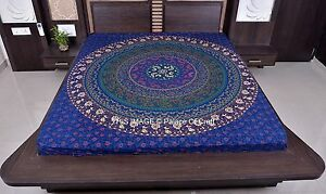 Indian Wall Hanging Handmade Decor Blanket Queen Size Ethnic Mandala Bed Cover