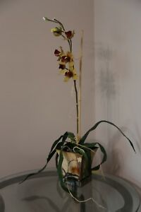 """Faux 33"""" Potted Yellow/Purple Orchid PlantPermanent Greenery"""