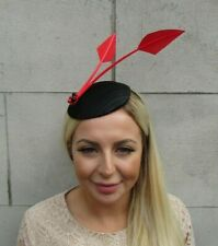 Black and Red Feather Fascinator Hat Headband Wedding Races Formal Occasion u1b