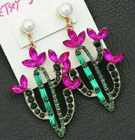 DRAMATIC Vibrant CACTUS Flower Ruby Emerald Rhinestone Betsey Johnson Earrings