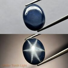 11x9mm Oval Cabochon 1pc Natural Sharp 6 Ray Deep Blue Star-Sapphire, Thailand