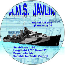 Digital full size plans on Cd to Build a 1/96 Scale  J Class Destroyer
