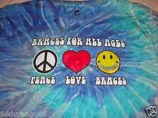 BRACES FOR ALL AGES PEACE SIGN TYE DYE T SHIRT SZ S SMALL SMILEY FACE HEART GUC
