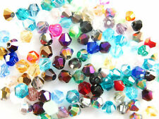 200pcs Random Mixed Color Glass Crystal Faceted Bicone Beads 4mm Spacer Findings