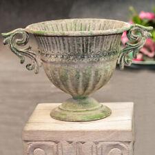 Französische Vase aus Eisen, Rund, Shabby Look,  Blumenvase, Gartendeko