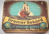 Alte Blechdose Bremer Rekord Vogelsang 50 g Reklame Werbung Blech Dose antik