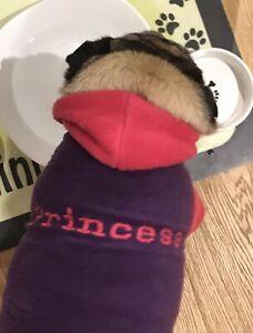 "Medium ""Princess"" Purple And Pink Fleece Hooded Dog Jumper - New - Never Used"