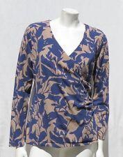 SOFT SURROUNDINGS Navy Brown Print Cotton Jersey L/S Wrap Tee Shirt Top sz L EUC