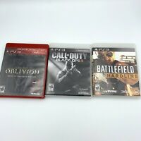 PS3 Video Game Lot - Oblivion, Call of Duty Black Ops II, Battlefield Hardline