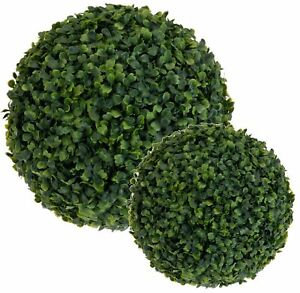2 x Artificial Hanging Topiary Buxus Balls Faux Boxwood Plant Garden Patio Decor