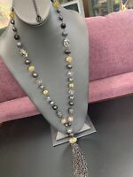 "Signed Erica Lyons Gold Black Crystal Long Beaded  Tassel Necklace Gun Metal 32"""