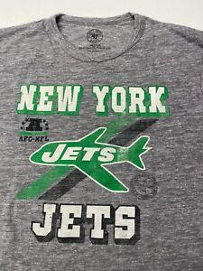 $34 New York Jets 47 Brand Heather Gray Tee T shirt NY NFL Gang Green Medium M