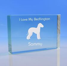 More details for bedlington terrier dog lover gift personalised hand engraved paperweight