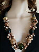Kukui Nut Shell Beaded Necklace Brown Green Tan Textured Handmade Ethnic Vintage
