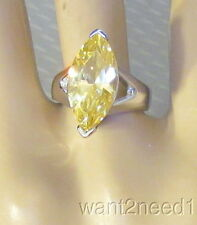 60s vtg designer Uncas STERLING SILVER 4ct CANARY MARQUISE SOLITAIRE RING sz 7