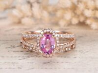 1.85Ct Oval Pink Sapphire Engagement Wedding Bridal Ring Set 14K Rose Gold Over