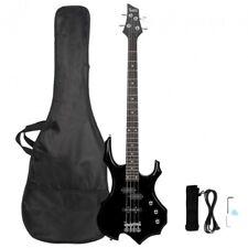 Glarry Burning Fire Electric Bass Guitar Full Size 4 String Sunset Black